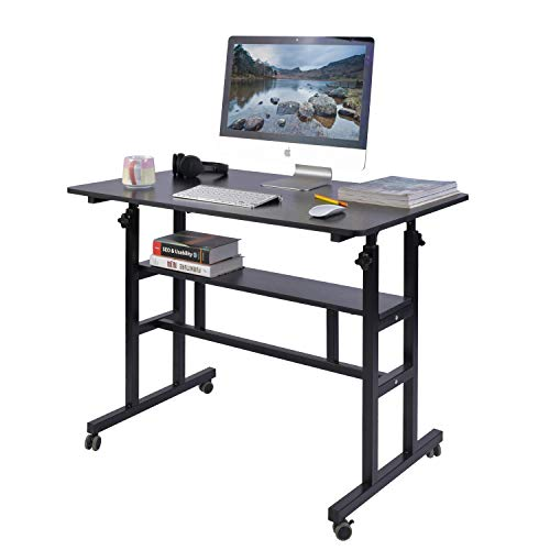 "AIZ Mobile Standing Desk, Adjustable Computer Desk Rolling Laptop Cart on Wheels Home Office Computer Workstation, Portable Laptop Stand Tall Table for Standing or Sitting, Black, 39.4"" x 23.6"""