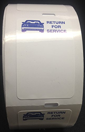 Static Cling Return for Service White Labels for Thermal Printer Oil Change Quantity 500 (1 roll) (A42)