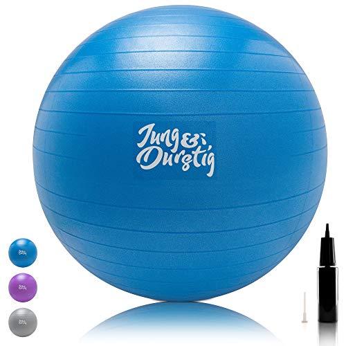 Jung & Durstig Gymnastikball inkl. Luftpumpe | Yoga und Pilates Ball 75 cm bis 150 kg belastbar | Sitzball in Blau