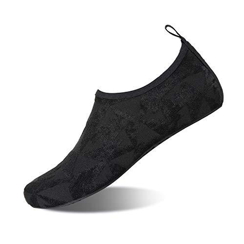 HMIYA Badeschuhe Strandschuhe Wasserschuhe Aquaschuhe Schwimmschuhe Surfschuhe Barfuß Schuhe für Damen Herren(Schwarz Sx,44-45 EU)