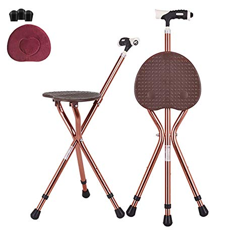 MOOLUNS Folding Cane Seat, Multifunction Aluminum Alloy Crutch with Seat, 2 in 1 Walk/sit Down Portable Cane, Height Adjustable, Suitable for Old Man,Brown