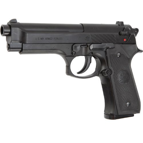 NICK and BEN Softair M9 World Defender < 0.5 Joule Pistola Airsoft, Unisex Adulto, Negro, Talla única