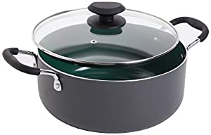 5-Quart Dutch Oven with glass lid Bakelite handle stays cool, Dishwasher-safe, Green color ceramic nonstick Ceramic non-stick coating is a healthy and eco friendly way to cook Ideal for an aray of cooking for all types of stovetypes Material: 2.5mm A...