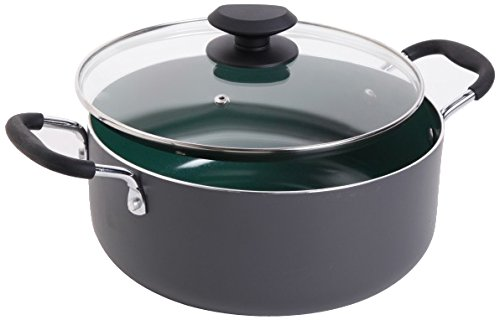 Gibson Home Eco-Friendly Hummington Forged Aluminum Non-Stick Ceramic Cookware with Soft Touch Bakelite Handle, 5-Quart Dutch Oven, Grey and Green