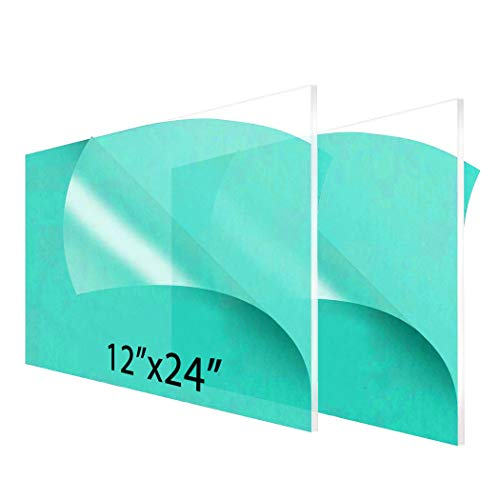 """2-Pack 12 x 24"""" Clear Acrylic Sheet Plexiglass – 1/8"""" Thick; Use for Craft Projects, Signs, Sneeze Guard and More; Cut with Cricut, Laser, Saw or Hand Tools – No Knives"""
