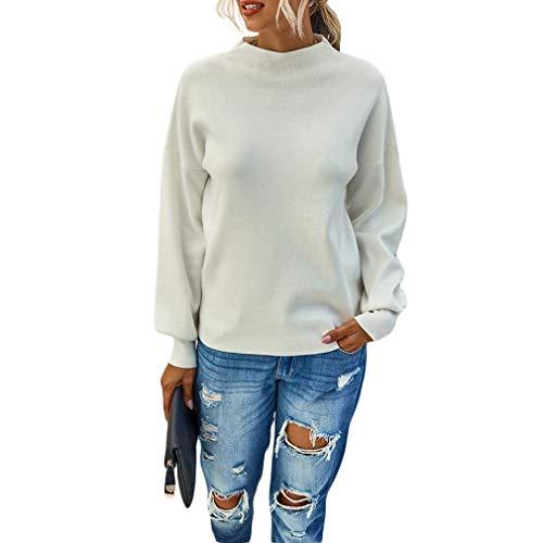 QIYUN.Z Damen Classic Fit Leichte Langarm-Rollkragenpullover Bunter Pullover Off-White XL
