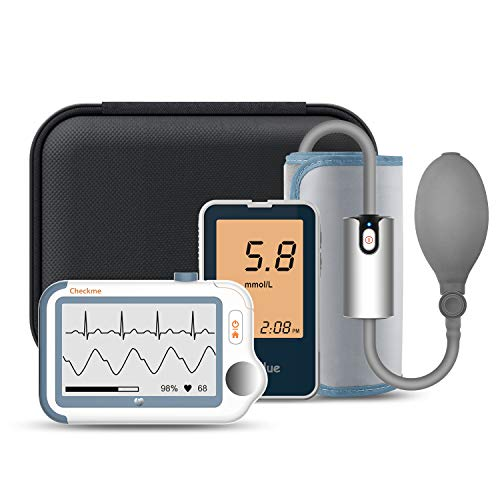 ViATOM Checkme Suit Monitor de ECG Bluetooth, ECG holter de 24 horas, Monitor de Saturación de Oxígeno, con Medidor de Glucosa en Sangre, Monitor de Presión Arterial, APP para Android e iOS