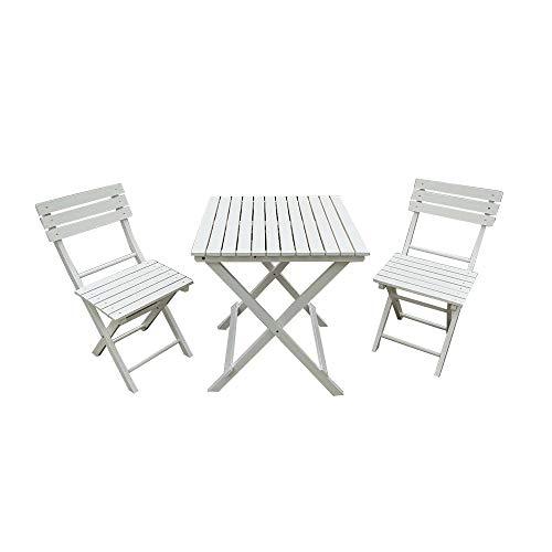 elevenfurniture Juego de Muebles de Madera para Patio y balcón, Blanco