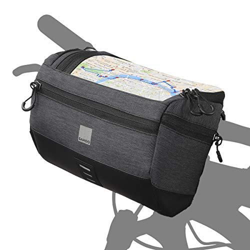 Roswheel Essentials Series Bike Handlebar Bag Bicycle Basket Pack with Map Holder/Phone Pouch, Black
