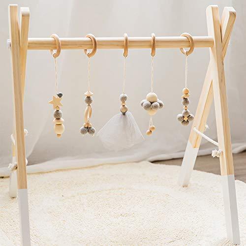 Okawari Home ベビージム 木製 ナチュラル ベビーカー用おもちゃ付き ベッドぶら下げ プレイジム 知育玩具 ...