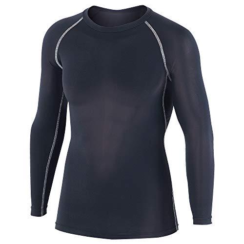 おたふく手袋 ボディタフネス 冷感・消臭 パワーストレッチ 長袖 クルーネックシャツ メンズ JW-623 ブラック M