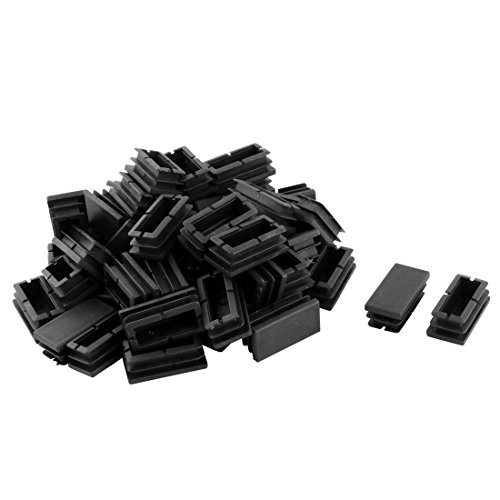 Sourcingmap Rectangle Blanking Fin Tube Caps Inserts 20 Mmx40 mm 50 pcs Noir