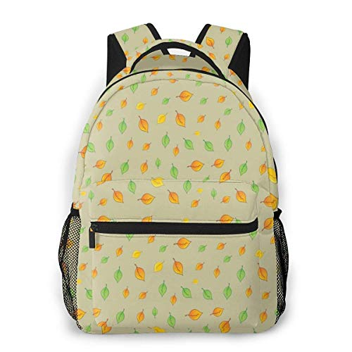Lawenp Fashion Unisex Backpack Green Yellow Leaf Bookbag Lightweight Laptop Bag for School Travel Outdoor Camping