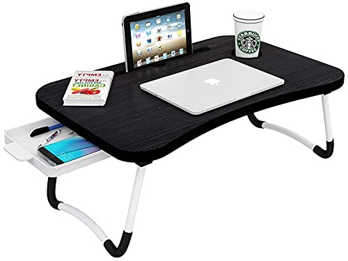 Callas Multipurpose Foldable Laptop Table with Cup Holder, Study Table, Bed Table, Breakfast Table, Foldable and Portable/Ergonomic & Rounded Edges/Non-Slip Legs (WA-026 Black)