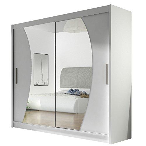 Kleiderschrank mit Spiegel London IX, Schwebetürenschrank, Schiebetürenschrank, Modernes Schlafzimmerschrank 180x215x57cm, Garderobe, Schlafzimmer (Weiß)