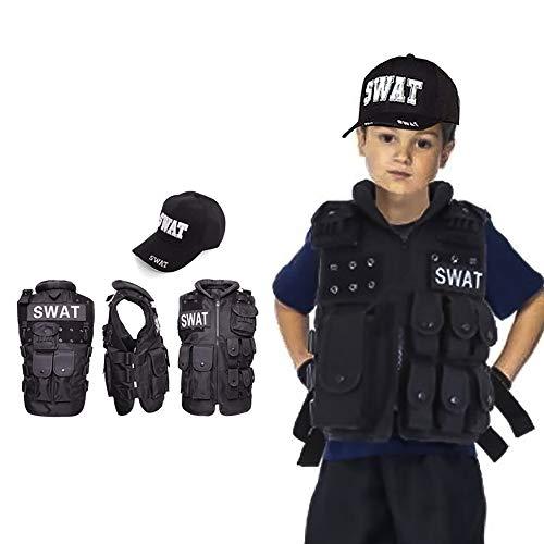 ハロウィン 仮装 コスプレ SWAT スワット 子供 キッズ ベスト 帽子 男性 衣装 コスチューム ポリス 警察 タクティカルベスト ミリタリー アーミー キャップ (ベスト+帽子) 2点セット 男女兼用 Barsado