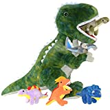 Dinosaur Stuffed Animal T-Rex and 5 Little Dinos for Boys & Girls - Plush T-Rex Stuffie with Zippered Pocket for Eating Dinosaurs - Dinosaur Gift for Boys Ages 3 4 5 6 7 8 9 Years