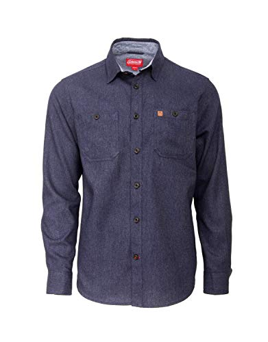 Coleman Long Sleeve Heather Cotton Flannel Shirts for Men (Small, Navy)