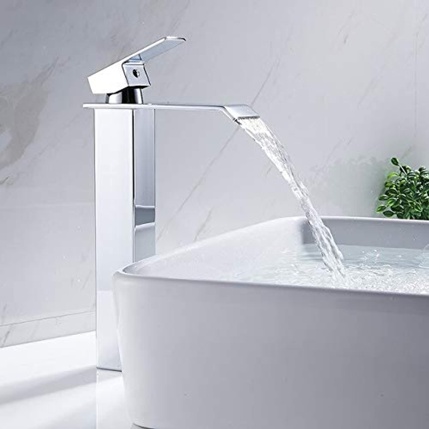 MinnUY Waterfall kitchen faucet mixer chrome-plated sink faucet deck installed cold and hot water faucet