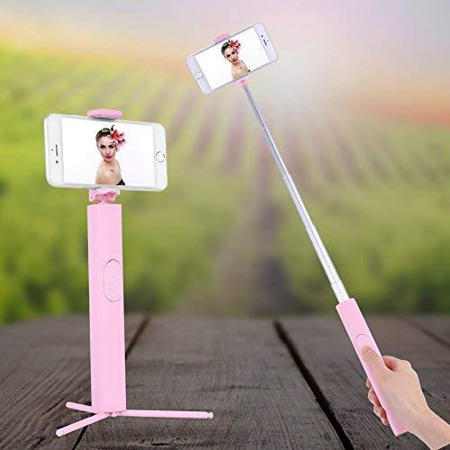 3 en 1 - Trípode invisible portátil con mando a distancia Bluetooth extensible para teléfono Selfie Stick (rosa)