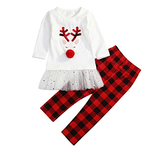 Christmas Little Girls Outfits Long Sleeve Fawn Tops + Red Plaid Pants Reindeer Clothes Sets 2Pcs