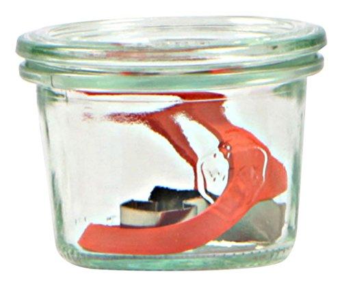 Weck Glas 80ml mit Deckel von 60mm, komplett mit Dichtung und Clips, Dose 24Stück, Glas, transparent