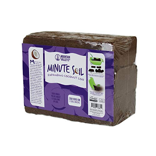 Minute Soil - Compressed Coco Coir Fiber Grow Medium - 3 Bricks = 4.5 Gallons of Potting Soil - Seed Starting, Gardening, House Plants, Flowers, Microgreens, Wheatgrass - Add Water - Peat Free - OMRI