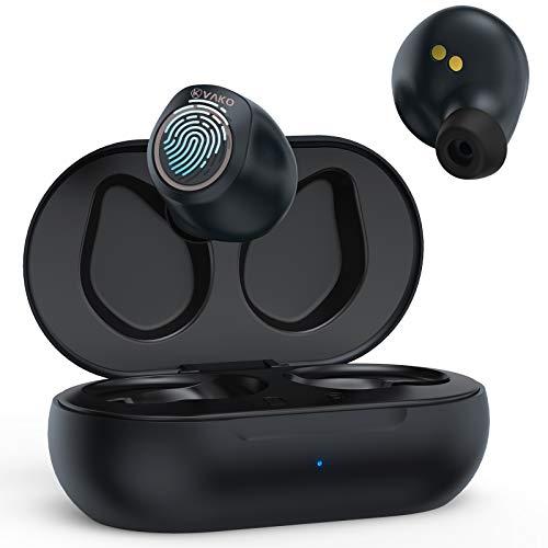 VaKo Cute Auriculares Bluetooth, Auriculares Inalámbricos In-Ear, Hi-Fi TWS Stereo con Funda de Carga, Touch Control, 16 Horas de reproducción, IPX7 Waterproof Sweatproof, para casa, Oficina