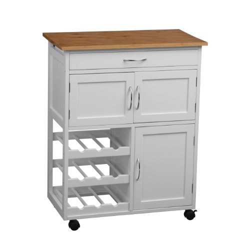 Premier Housewares Kitchen Trolley with Bamboo Top - 84 x 67 x 37 cm, White