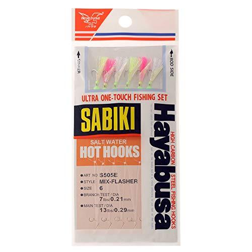 Hayabusa S-505E-6 Mix-Flash Sabiki Hot Hooks, Size 6