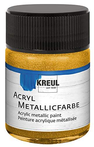 Kreul 77571 - Acryl Metallicfarbe, glamouröse Acrylfarbe mit Metalliceffekt auf Wasserbasis, cremig deckend, schnelltrocknend und wasserfest, 50 ml Glas, gold