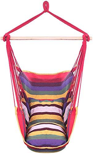 Silla Columpio Hamaca Silla de Hamaca Colgando Asiento de Swing de Cuerda (máx. 250lbs) con 2 Asientos para Cubos para Interiores, al Aire Libre, jardín, Patio, Porche, Patio (Color : Rainbow)