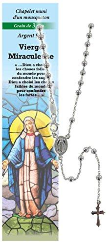 Rosario Virgen de los Milagros de plata 925 con cuentas de Ø 3 mm y una oración en francés
