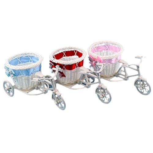VOSAREA 3 Piezas de Triciclo de Mimbre Cesta de Flores Tejido de Bicicleta Cesta de Flores decoración Interior del hogar (Rojo Rosa Azul Cada una)