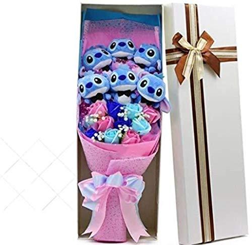 Hailun Kawaii Stichplüschtiere mit künstlichen Blumen Karikatur-Blumenstrauß-Geschenkbox Weihnachtsplüschtiere Valentinstag GIF
