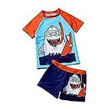 Set de Maillot de Bain pour garçons 2pcs, t-Shirt à Manches Courtes Rondes à Manches Courtes Beachwear Crop Top Shark Maillots de Bain, Ensemble de Costumes de Plage divisée en Deux pièces