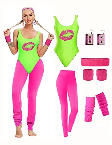 Women's Neon Green and Pink 80s Workout Costume Outfit, choice of colours