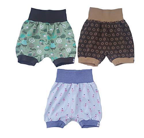 MyLeeni, Kinderhose, Babyhose, kurze Pumphose, Sommerhose, kurze Hose, Shorts, Sterne, Anker, maritim, Flamingo, Gr. 98/104, grün, braun, Junge, Mädchen