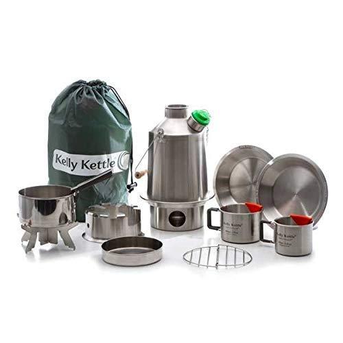 Ultimativ' Scout 'Kelly Kettle Set Wert Deal inklusive 1.2 Edelstahl' Scout 'Camping Wasserkocher + Grün +Pfeife +Kochset + Hobo Ofen + Camp Becher 2-teilig + Teller 2-teilig +Topf + Tragetasche