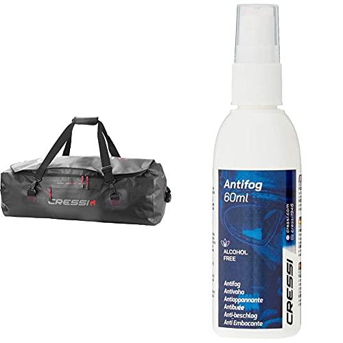 Cressi Gorilla Pro Bag Bolsa de Buceo, Unisex Adulto, Negro, 135 litros, XL + Premium Anti Fog Antivaho Spray para Máscara De Buceo/Gafas De Natación, 60 Ml