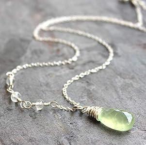 "Mint Green Gemstone Necklace Prehnite Rainbow Moonstone, Sterling Silver 18"" Length"