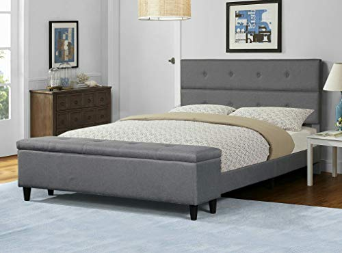 Amolife Upholstered Storage Platform Bed, Queen Bed Frame with Storage Ottoman Bench and Headboard, Mattress Foundation,Queen Size in Light Grey Linen Style Fabric