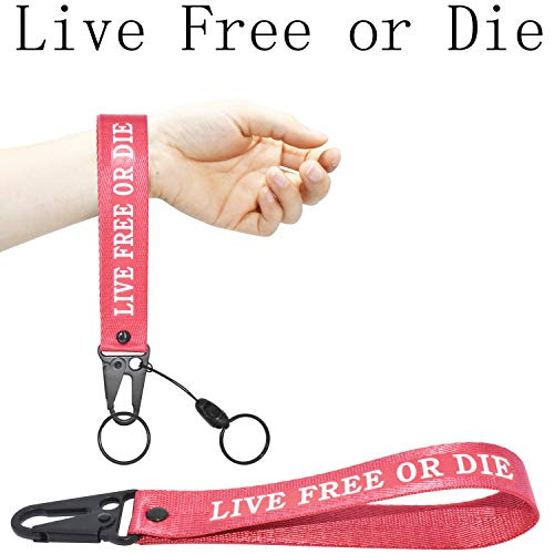 Keychain Lanyard for Women and Men, Wristlet Keychains Hand Wrist Strap Key Chain Ring Holder, Birthday Gifts for Women Men Yamaha Jeep BMW Car Motorcycle Key (Live Free or Die)