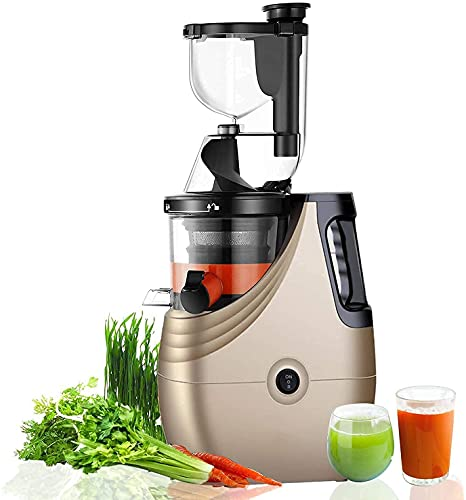 WYFX Exprimidoras, máquina exprimidora de Prensa en frío con Canal de 3 de Ancho para Frutas y Verduras, Extractor de Jugo de masticación Lenta, exprimidor Vertical de Alto Rendimiento, sin BPA,