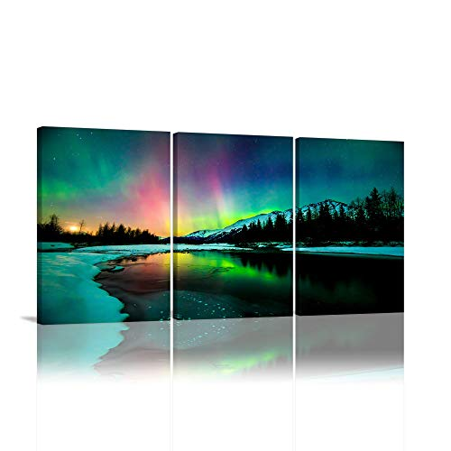 KALAWA Aurora Scenery Painting Print on Canvas Natural Scenery Borealis Iceland Landscape Wall Decor Northern Light Canvas Wall Art For Living Room Framed Ready to Hang (12'W x 16'H x 3 Panels)