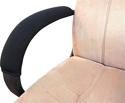 HKSMAN 2 Stück Bürostuhl-Armlehnen-Schonbezüge aus Polyester, abnehmbar, strapazierfähig, maschinenwaschbar, Schwarz