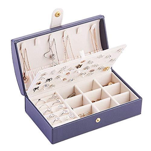 YUKAKI Pequeña caja de joyería de piel sintética con doble capa para mujeres, proporciona placa de tuerca, cajas de joyería organizador para pendientes, pulseras, collares y anillos