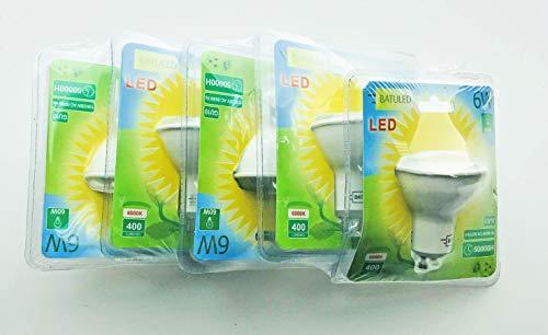 Batuled - Pack 5 dicroicas LED GU-10 6W 6000K - [Eficiencia energética A+] - 50.000 Horas de Vida