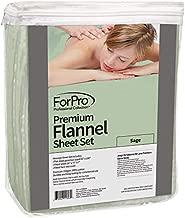 ForPro Premium Flannel 3-Piece Massage Sheet Set, Sage, for Massage Tables, Includes Massage Flat Sheet, Massage Fitted Sheet, and Massage Fitted Face Rest Cover