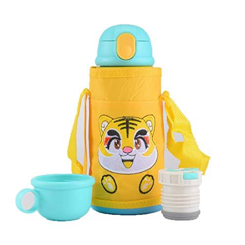 ZXS8 Kinder Thermoskanne Mädchen Junge Schüler Aus Rostfreiem Stahl Bpa-frei Kalte Flasche Zu Hause Schule Wasserglas,Yellow Tiger,550ml
